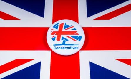 Tory badge on union flag