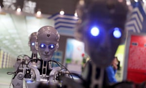 Robots on display during the 17th China International Industry Fair in Shanghai