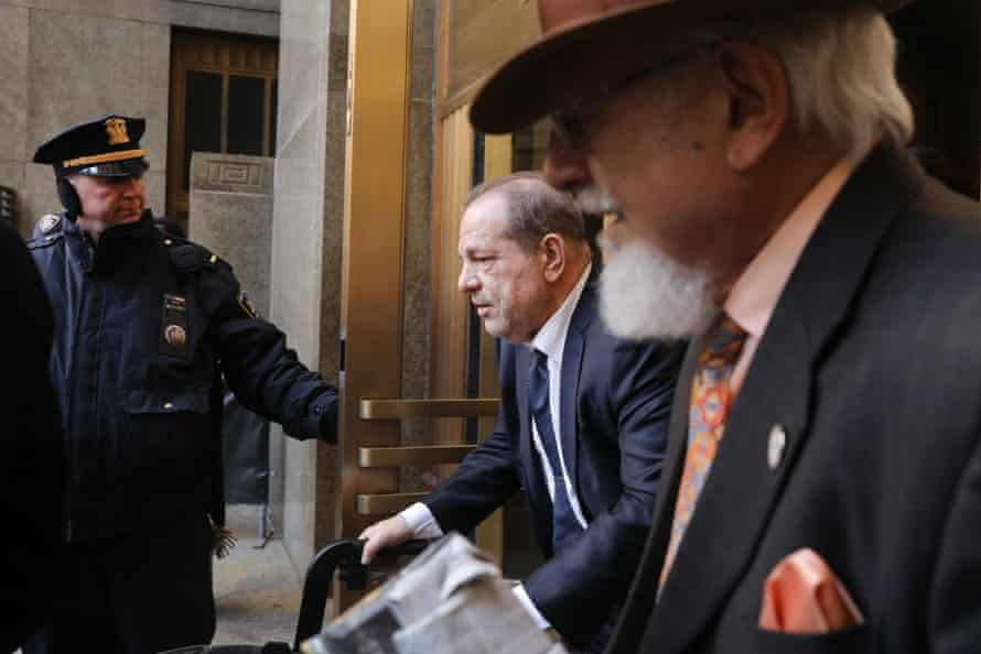 Harvey Weinstein exits a Manhattan court house as a jury continues with deliberations on February 21, 2020 in New York City.