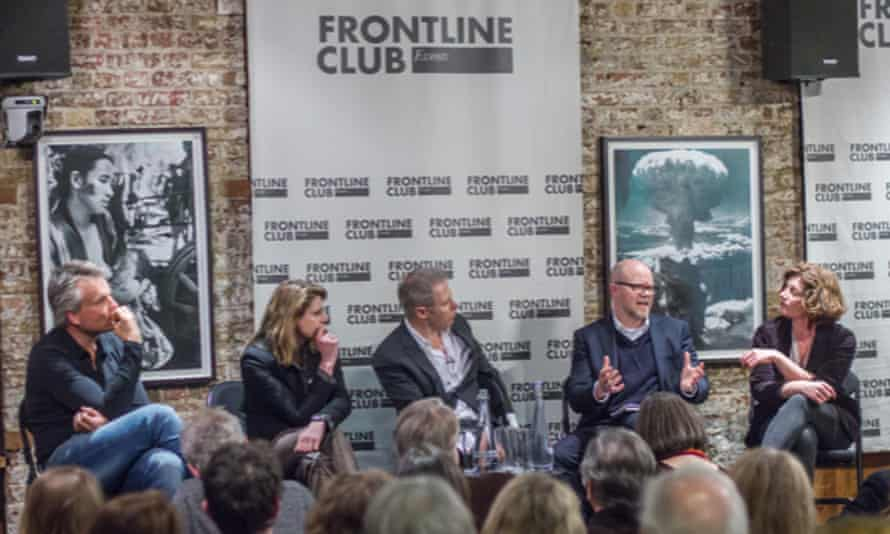 Toby Young arguing for Brexit at a Frontline Club debate with, from the left, Joris Luyendijk, Annalisa Prias, Gavin Hewitt and Natelie Nougayrède