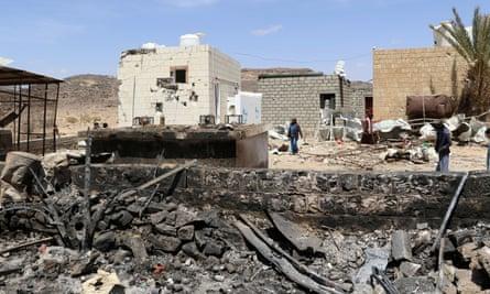 The scene of an airstrike in Kutaf district in the north-western province of Saada, Yemen.