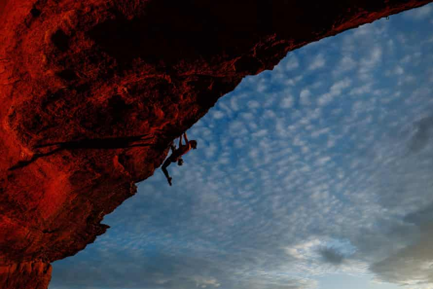 Australian climber Angie Scarth-Johnson climbs at Gateway Crag in the Blue Mountains, New South Wales. Scarth-Johnson is training for selection to represent Australia in sport climbing at the Olympics. The sport would have made its Olympic debut at Tokyo 2020.