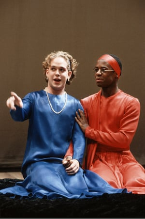As You Like It, 1991 Declan Donnellan directed Tom Hollander (Celia), left, and Adrian Lester (Rosalind) in Cheek By Jowl's production of Shakespeare's play. Following the Lyric, it did an international tour