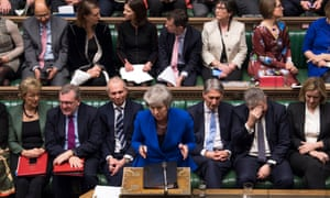 Theresa May during prime minister's questions on Wednesday 16 January.