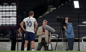 Harry Kane talks to Sky Sports' Geoff Shreeves after the match.