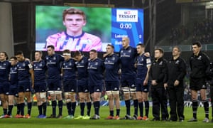 Leinster players observe a minute's silence for Nicolas Chauvin before their Champions Cup match against Bath
