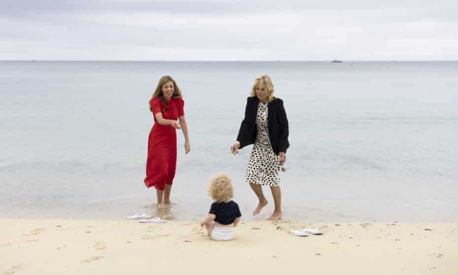 Carrie Johnson and Jill Biden in Cornwall at the G7 summit