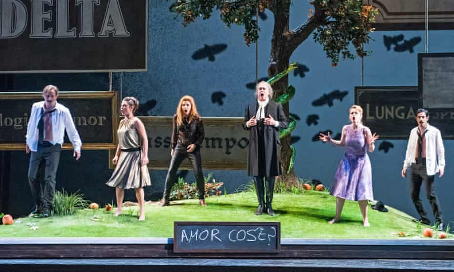 Well-matched … Daniel Behle, Corinne Winters, Sabina Puértolas, Johannes Martin Kränzle, Angela Brower and Alessio Arduini in Così Fan Tutte.