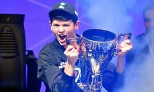 Kyle 'Bugha' Giersdorf celebrates winning the final of the Solo competition at the 2019 Fortnite World Cup in New York.