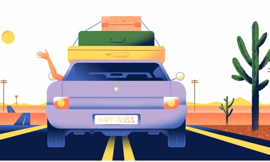Illustration of car on a road trip