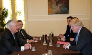 Rex Tillerson and Boris Johnson hold talks in Lucca.