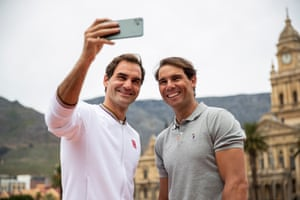Cape Town, South Africa Tennis rivals Roger Federer and Rafael Nadal take a selfie after playing mini tennis on the Cape Town Grand Parade in front of the City Hall and Table Mountain ahead of their exhibition match at a charity event.