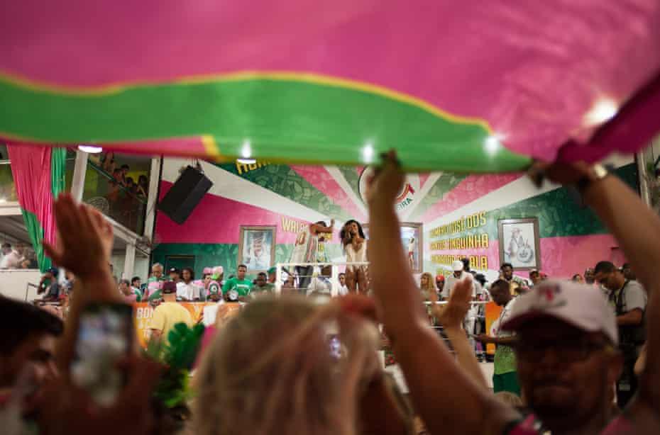 Samba rehearsal in a hall in the Mangueira favela of Rio de Janeiro.