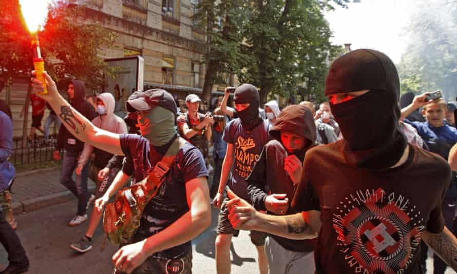 An anti-Gay Pride event in Kiev, 2016.
