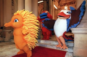 The mascots for the Sydney Olympics – Millie the Echidna, Syd the Platypus and Olly the Kookaburra – make a grand entrance at their first public appearance on 28 May.