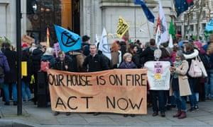 Extinction Rebellion protest outside the Australian Embassy in London, January 2020.