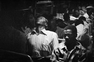 Going Home: Marabastad-Waterval Route. For most of the people in this bus, the cycle will start again tomorrow at between 2am and 3am. From the series the Transported of KwaNdebele (detail), 1984