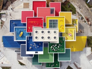 Skylight studs … an aerial view of the Lego House in Billund, Denmark.