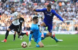 Eden Hazard takes the ball around Hugo Lloris.