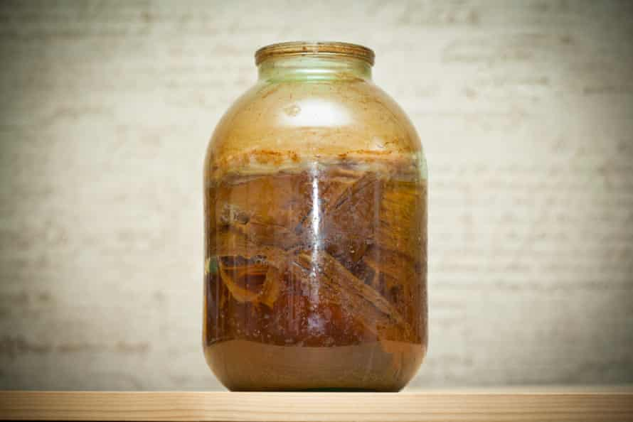 A jar of kombucha, with the 'mother' fungus visible.