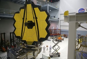 part of the james webb space telescope viewed by technicians