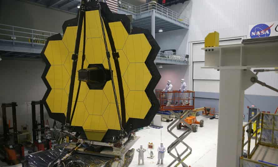Engineers and technicians assemble the James Webb Space Telescope on Wednesday in Greenbelt, Maryland.