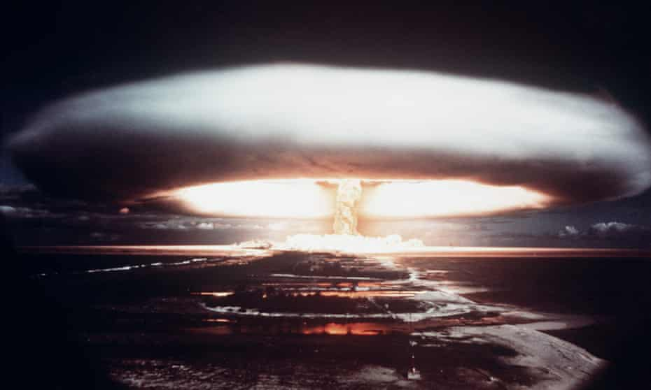 Nuclear test explosion in Mururoa atoll, French Polynesia, in 1971.