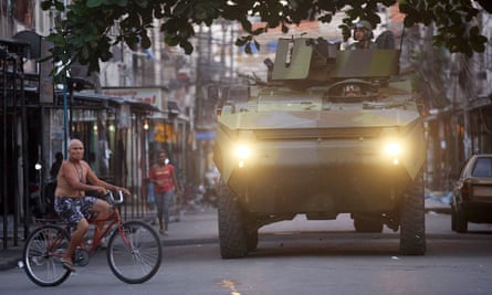 Federal forces on patrol in Complexo da Maré before the 2014 World Cup in Rio.