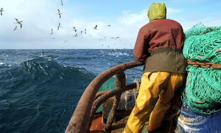 Trawler fishing in the North Sea between Scotland and Norway.