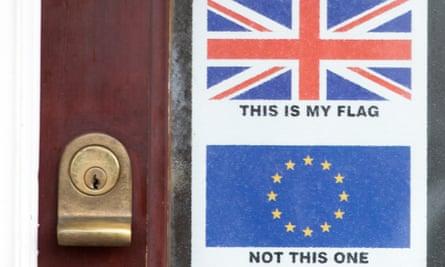 Door with Union Jack flag on it