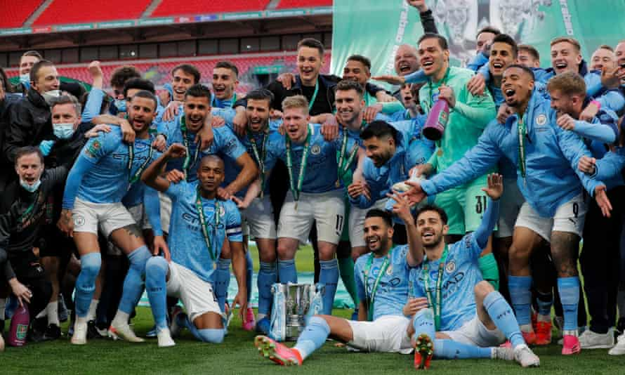City celebrate after winning the Carabao Cup final at Wembley.