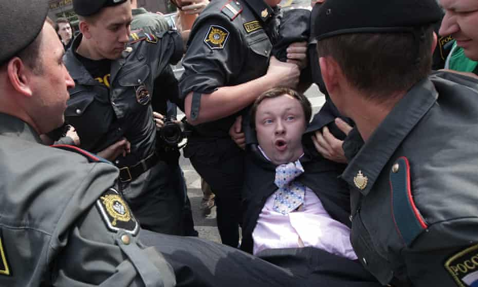 The letter is to Nikolai Alexeyev, pictured above being arrested during an 'unauthorised' gay pride parade in Moscow in 2012.