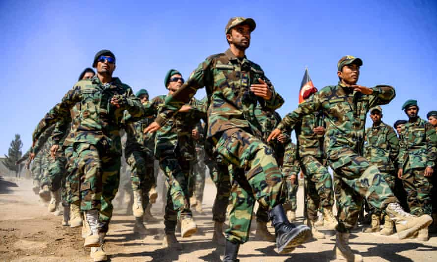 Afghan National Army (ANA) soldiers at a military base in the Guzara district of Herat province