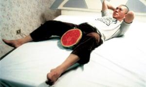 Fruity … Tsai Ming-Liang on the set of The Wayward Cloud in 2005.