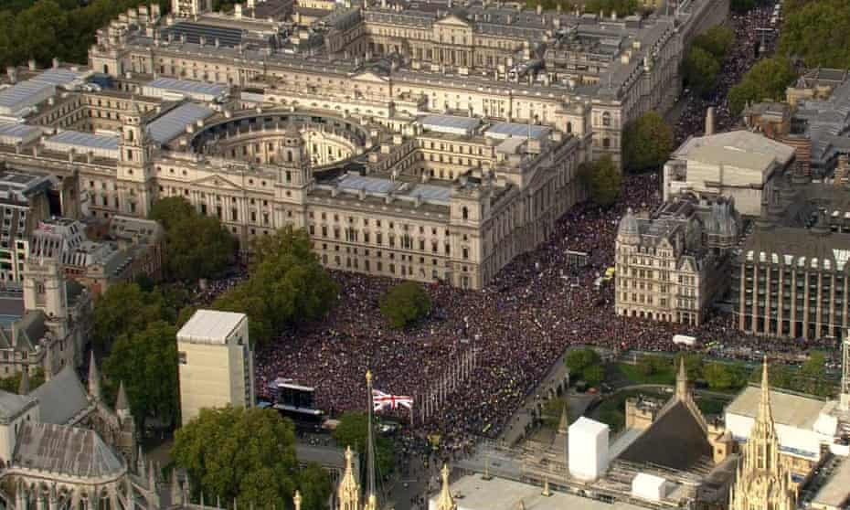 Aerial view of the October 2019 People's vote protest in central London