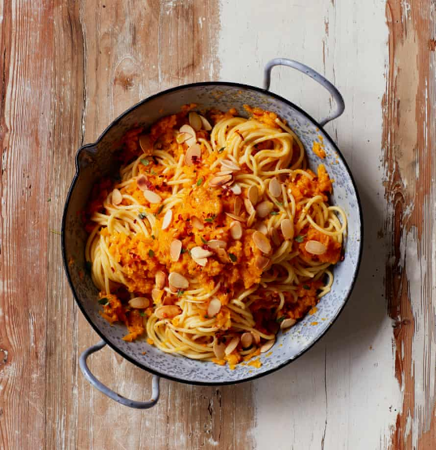 Yasmin Fahr's pasta with squash and almonds.