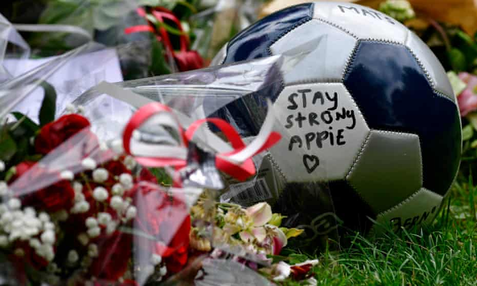 A message of support placed outside the hospital where Abdelhak Nouri is receiving treatment.