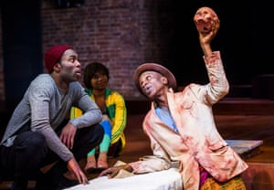 Paapa Essiedu (Hamlet), Temi Wilkey (Gravedigger's Assistant) and Ewart James Walters (Gravedigger) in an RSC production designed by Paul Wills, at the Royal Shakespeare theatre, Stratford-upon-Avon, in 2016