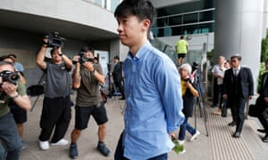 Baggio Leung arrives at a magistrate court in Hong Kong