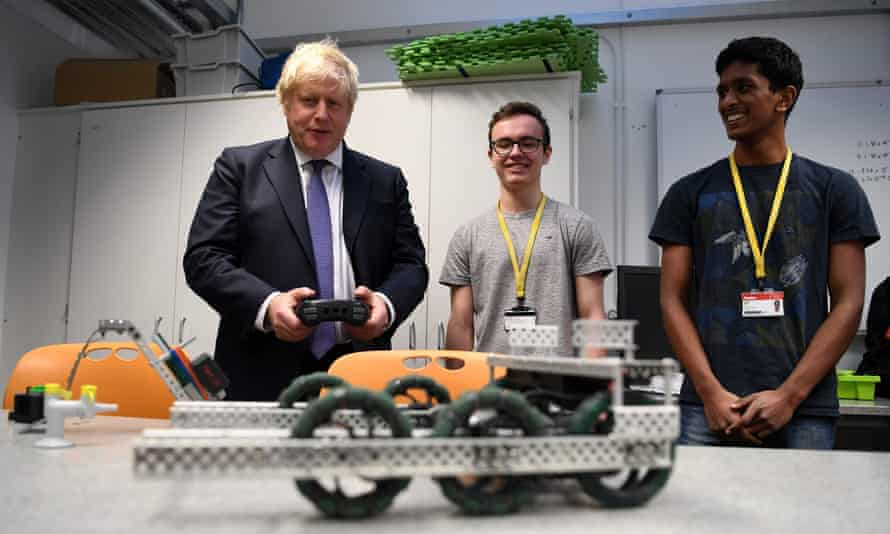 Boris Johnson at King's College London as he unveils a new fast-track visa scheme for top scientists, researchers and mathematicians.