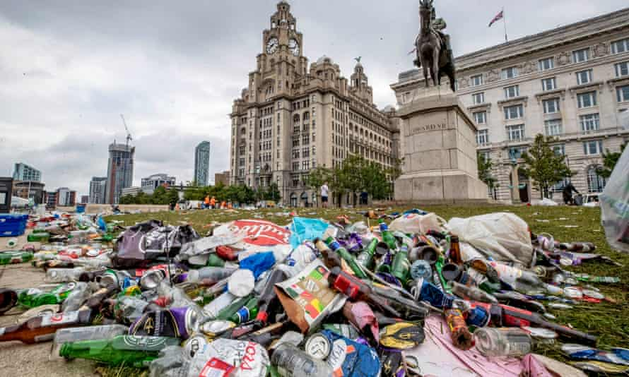 Rubbish left by Liverpool fans celebrating near the Liver Building
