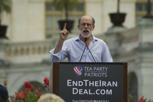 Frank Gaffney, president of the Center for Security Policy, speaks during rally to oppose deal with Iran.