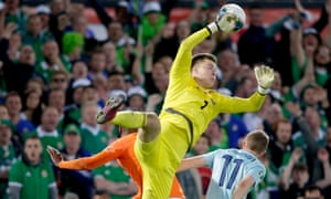 Burnley's Bailey Peacock-Farrell in action for Northern Ireland against the Netherlands in October 2019.