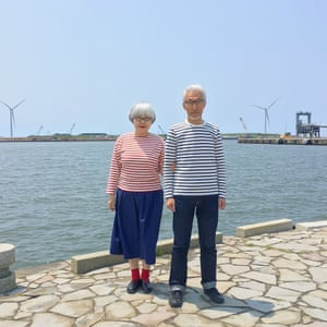 """While we were in Akita Prefecture we visited the harbour. It was pretty windy, so our hair's all messed up."""