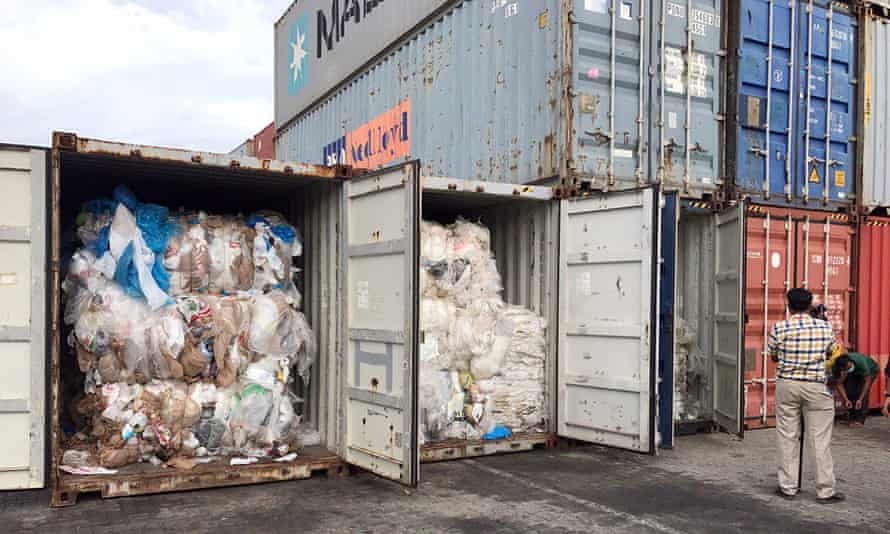 Containers loaded with plastic waste placed at Sihanoukville port in Cambodia, on 16 July.