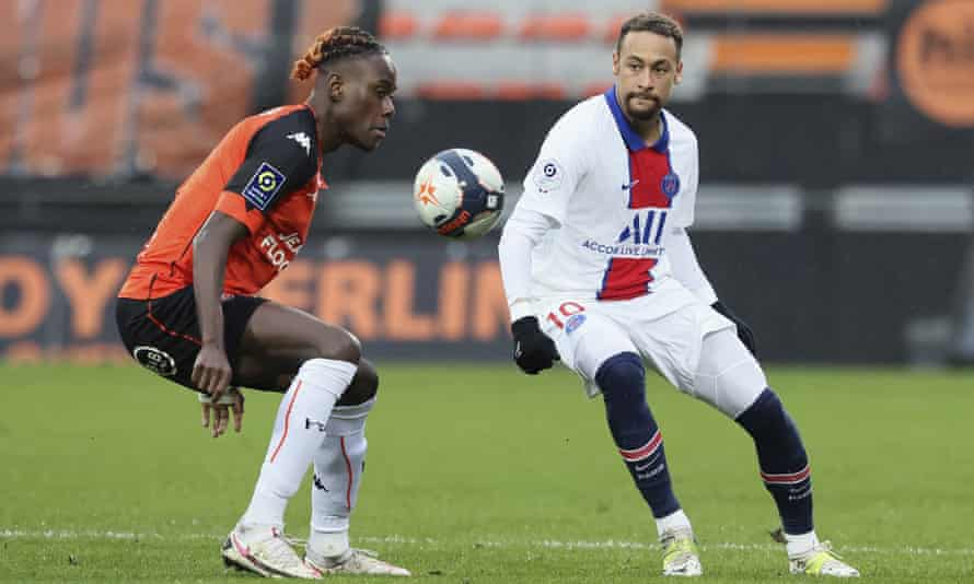 Trevoh Chalobah (left) in action with Neymar during Lorient's 3-2 home victory over Paris Saint-Germain in January.