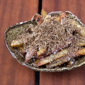 A bowl of truffle fries at Taka, Marylebone, London.