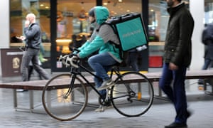 A Deliveroo rider in London