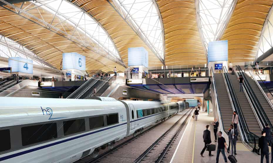 An artist impression of the proposed HS2 station at Euston, central London.