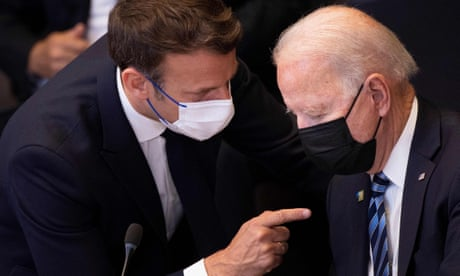 BELGIUM-NATO-SUMMIT<br>France's President Emmanuel Macron (L) talks to US President Joe Biden before a meeting of the North Atlantic Council at the North Atlantic Treaty Organization (NATO) headquarters in Brussels on June 14, 2021. — The 30-nation alliance hopes to reaffirm its unity and discuss increasingly tense relations with China and Russia, as the organization pulls its troops out after 18 years in Afghanistan. (Photo by Brendan Smialowski / POOL / AFP) (Photo by BRENDAN SMIALOWSKI/POOL/AFP via Getty Images)